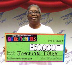 Joycelyn Toler, winner of $50,000 Monopoly Millionaires' Club™ Scratcher prize