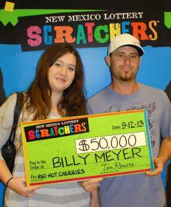 "Billy Meyer, winner of $50,000 ""Red Hot Cherries"" Scratcher™"