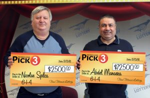 Nicolae (Nick) Spilca, winner of $2,500 Pick 3 prize and Abdel (Joe) Manasra, winner of $72,500 Pick 3 prize