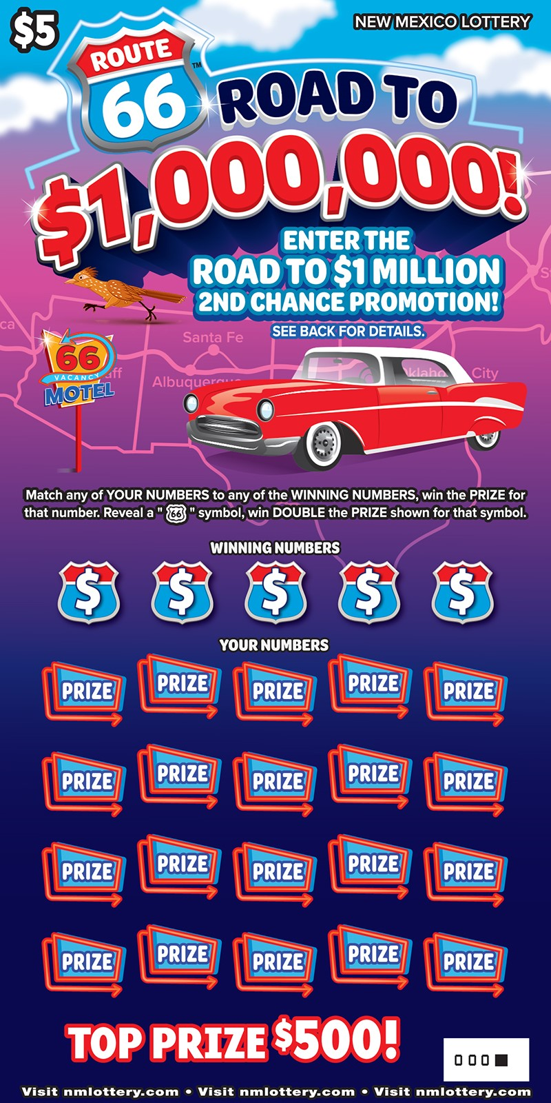 Route 66™ Road to $1,000,000! Scratcher
