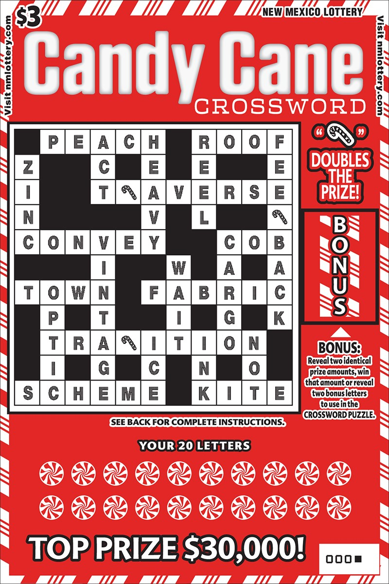 Candy Cane Crossword Scratcher